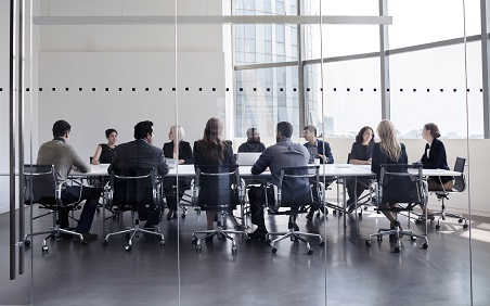 Colleagues at business meeting in conference room